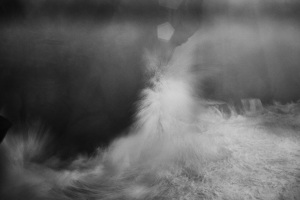 Fine Art image of a stormy ocean in black and white taken in portugal