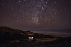 fine art photograph of a motorhome along the coast of portugal