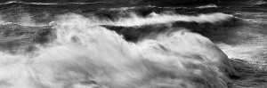 fine art black and white photography of a stormy ocean in Nazaré, Portugal