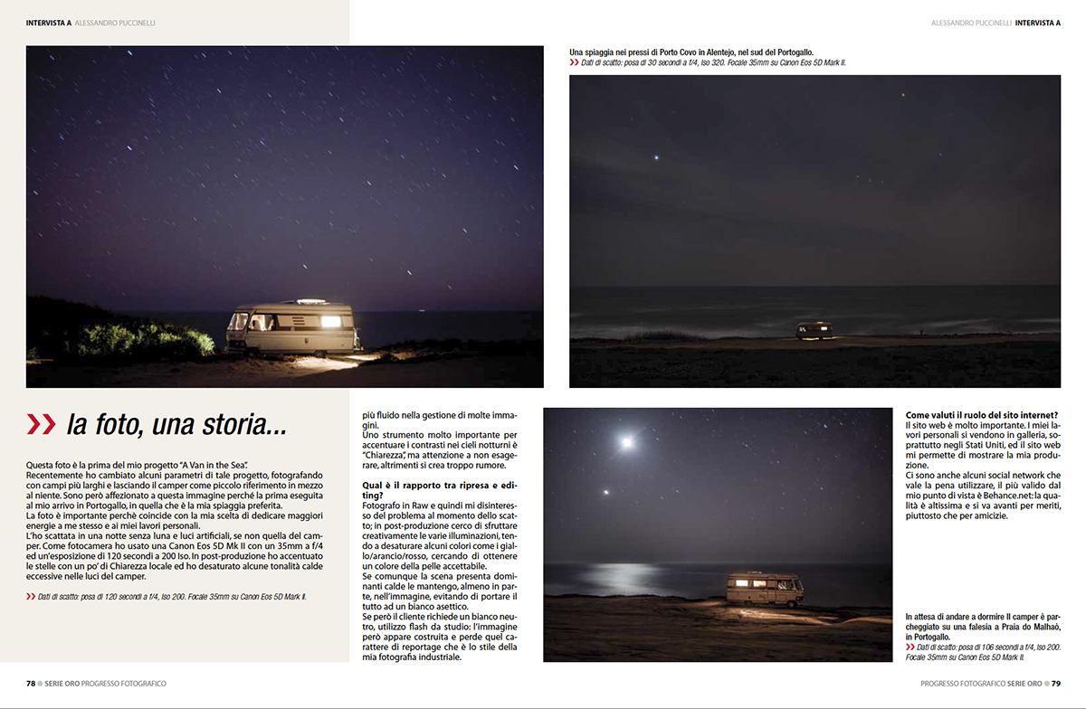 fine art photography of a magazine article about night photography, ocean and life style