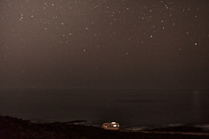 Fine art landscape photography of my van in front of the atlantic ocean in portugal