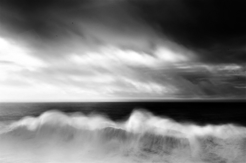Fine art photo of the atlantic ocean in Portugal along the coast of Alentejo, black and white