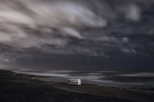 Fine art photography lansdcape of a van in front of the ocean