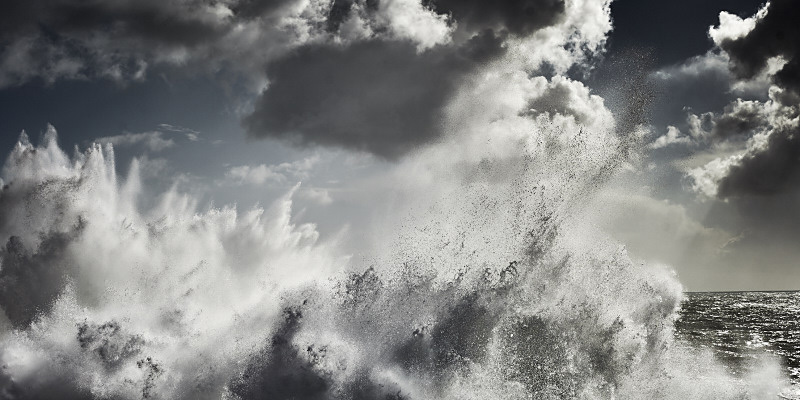 Fine art color photography of an abstract stormy ocean in Portugal