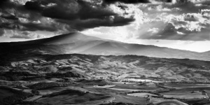 fine art landscape in black and white of Val d'Orcia, Tuscany