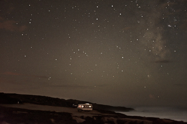 fine art photography of a van in front of the ocean