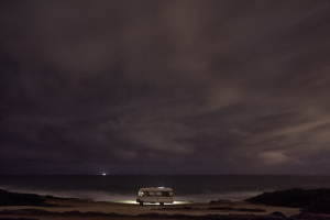 Fine art photography of a motorhome in front of the ocean in Portugal