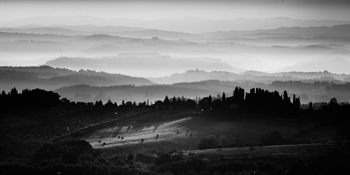 Fine art black and white landscape of Tuscany, near Montaione, Pisa