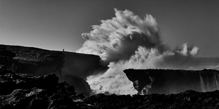 fine art photo of a big storm, taken in praia di Malhào in Portugal during a huge swell with big waves