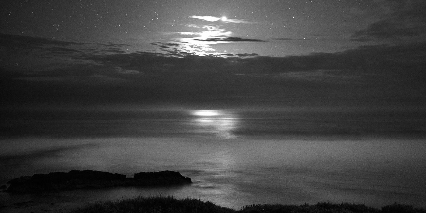 Fine art seascape, black and white photograph of the atlantic ocean in Alentejo