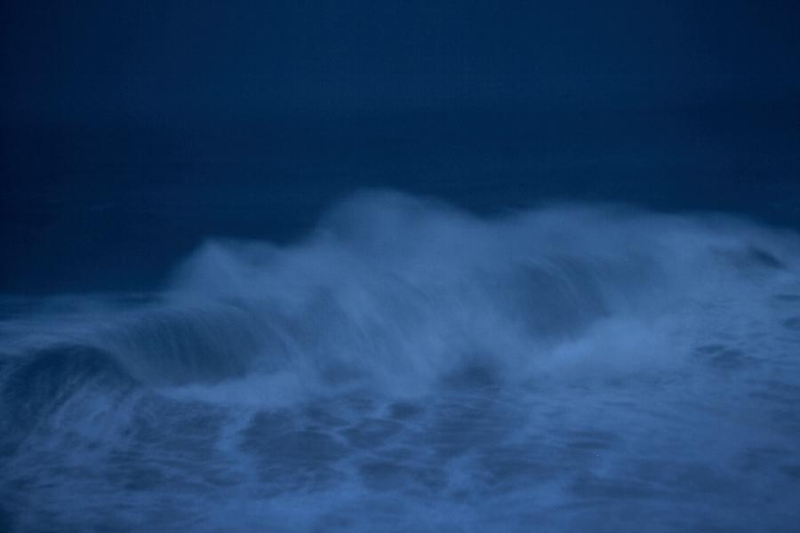 fine art photo of the otlantic ocean in Nazare, Portugal. Image taken at dusk