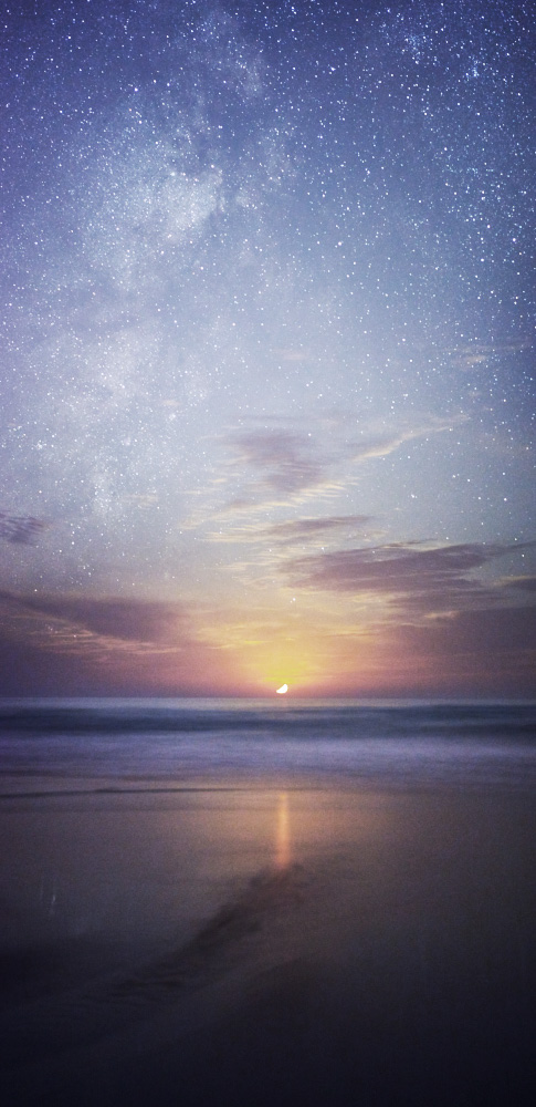fine art photography of a night seascape along the ocean in south portugal