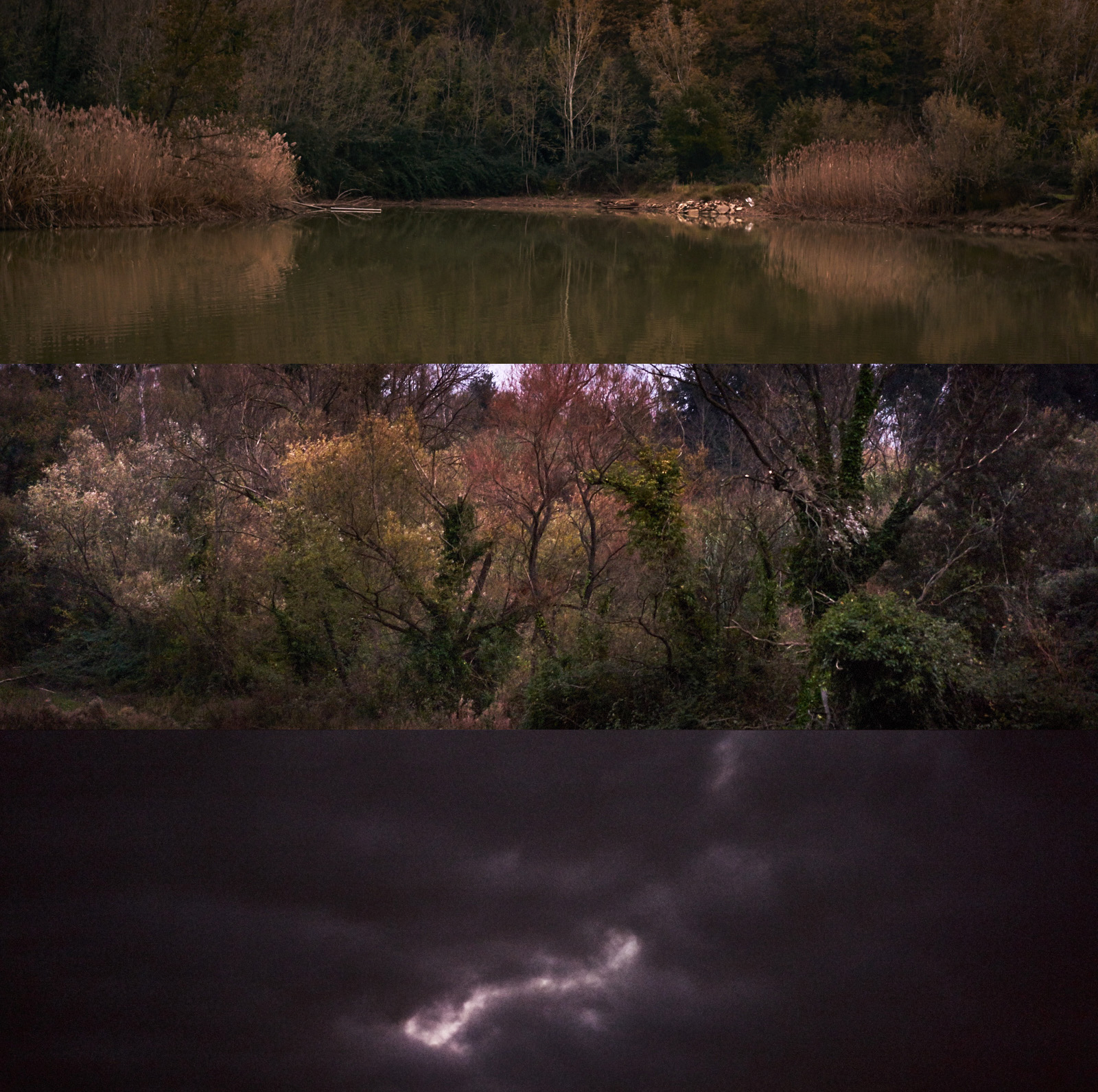 fine art triptych of tuscan landscape during an afternoon walk