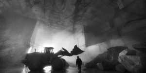 black and white fine art image of a marble quarry in Carrara Italy