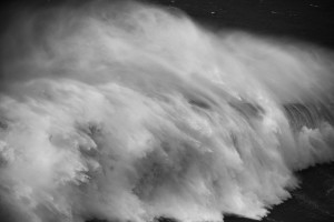 fino art black and white seascape of a huge wave in Nazaré