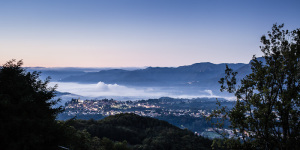 Landscape fine art photo of the town of barga in Garfagnana italy