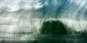 A fine art photograph of a wave in the atlantic ocean in Portugal done with a long shutter speed