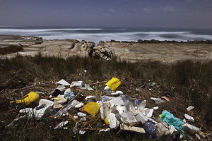 Plastic garbage in the ocean found on a beach in portugal after a big swell