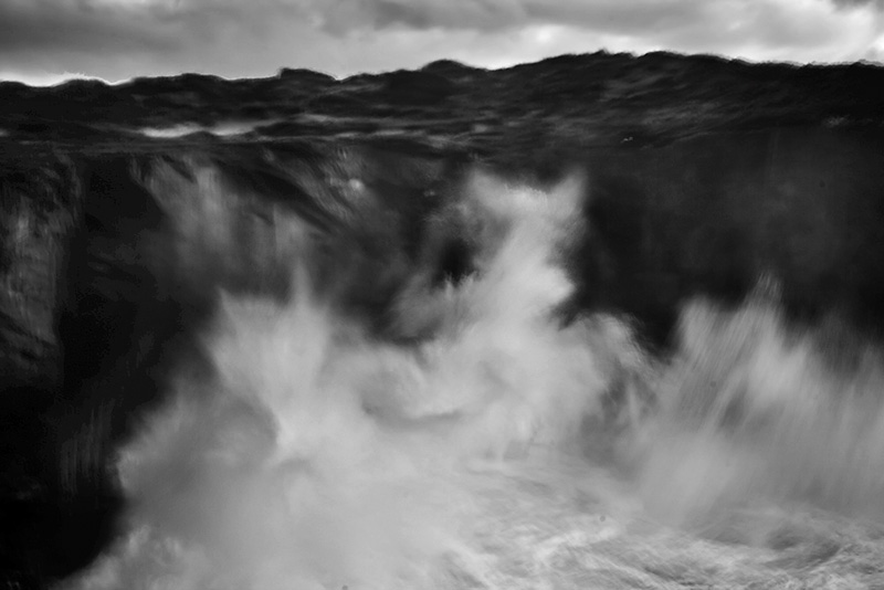 Fine art Black and white photo of a seascape, atlantic ocean, image taken from a cliff