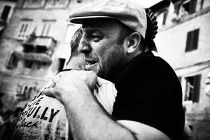 The barbaresco, the man in charge of the horse, crying after winning the 2014 Palio di Siena