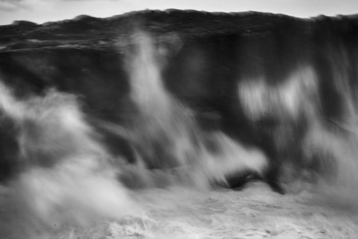 Black and white fine art image of a stormy ocean
