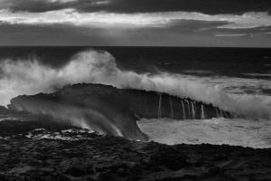 fine art black and white photo of the ocean in Alentejo