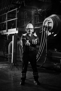 fine art commercial black and white photo of a worker