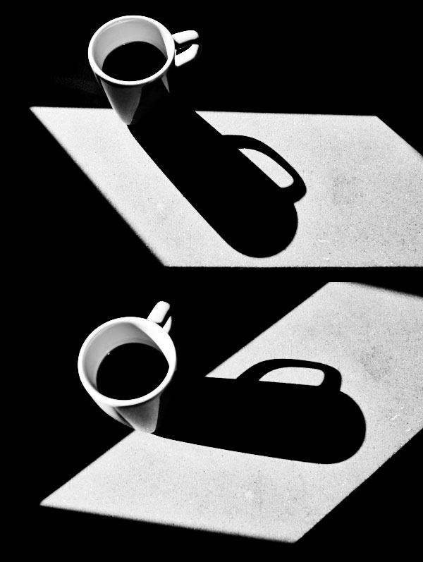 fine art abstract black and white image of a cup of italian coffè