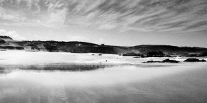 fine art black and white photograph of Praia do Malhào in Alentejo along the Atlantic ocean