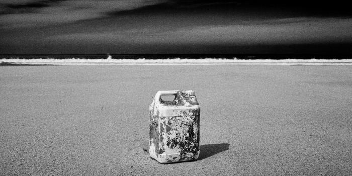 fine art black and white photograph of Praia do Malhào in Alentejo along the Atlantic ocean