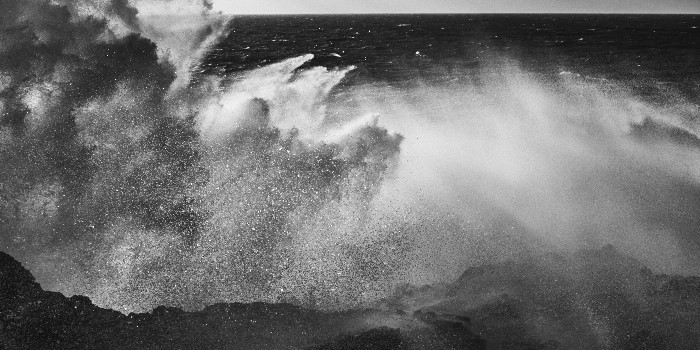 Praia do Malhào, in Alentejo Portugal. Fine art photo in black and white of a stormy ocean