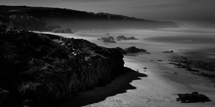 fine art nightscape of a beach on the atlantic ocean, called Prai do Malhòo in Portugal