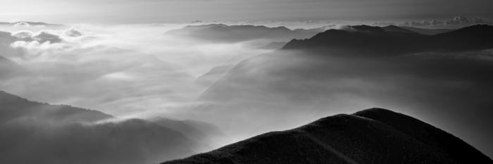 Black and white fine art landscape of  Monte Forato in the apian alps tuscany