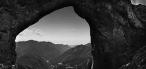 Black and white fine art landscape of Monte Forato in the apian alps tuscany