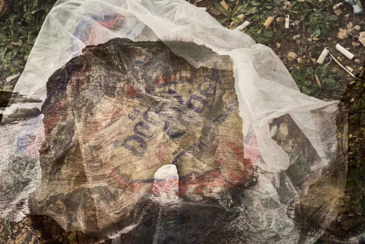 fine art image of a plastic bag with the grotte aux pigeons in Beirut