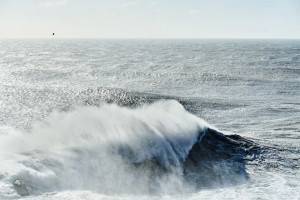 Fine art seascape in a photo depicting the biggest swell of the year 2015 in Nazarè, Portugal. Nazarè is a famous place for big wave surf and for it's huge size caused by a submarine canyon.