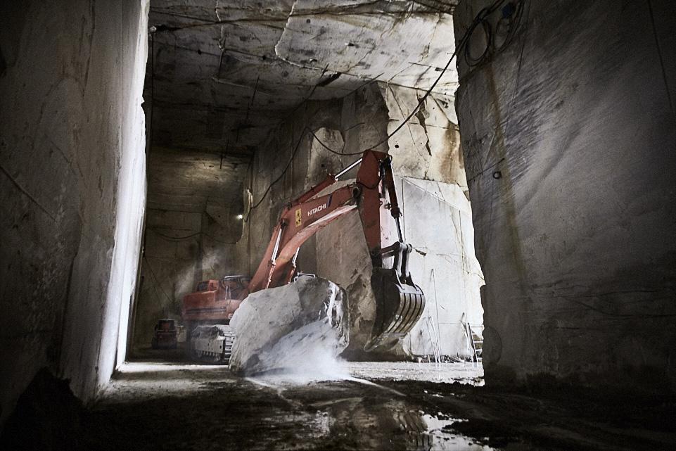 fine art corporate industria photography of a marble quarry in Massa Carrara, Tuscany