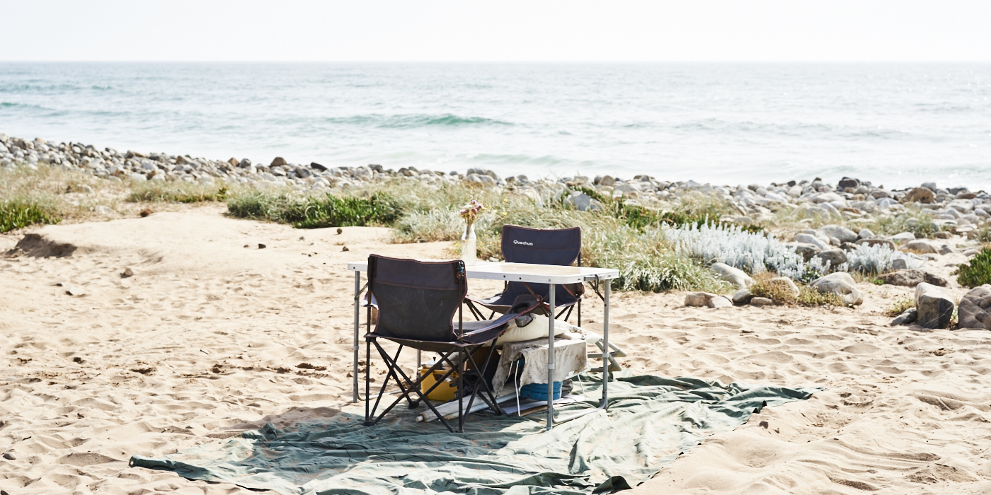 a table for two on the beach in Portugal close to Porto Covo in Alentejo