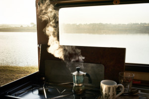 fine art early morning photo of a coffe machine in my van along a lake in Alentejo