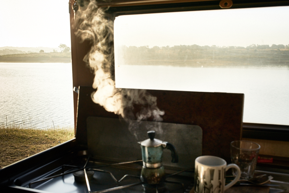 fine art early morning photo of a coffe machine in my van along a lake in Alentejo