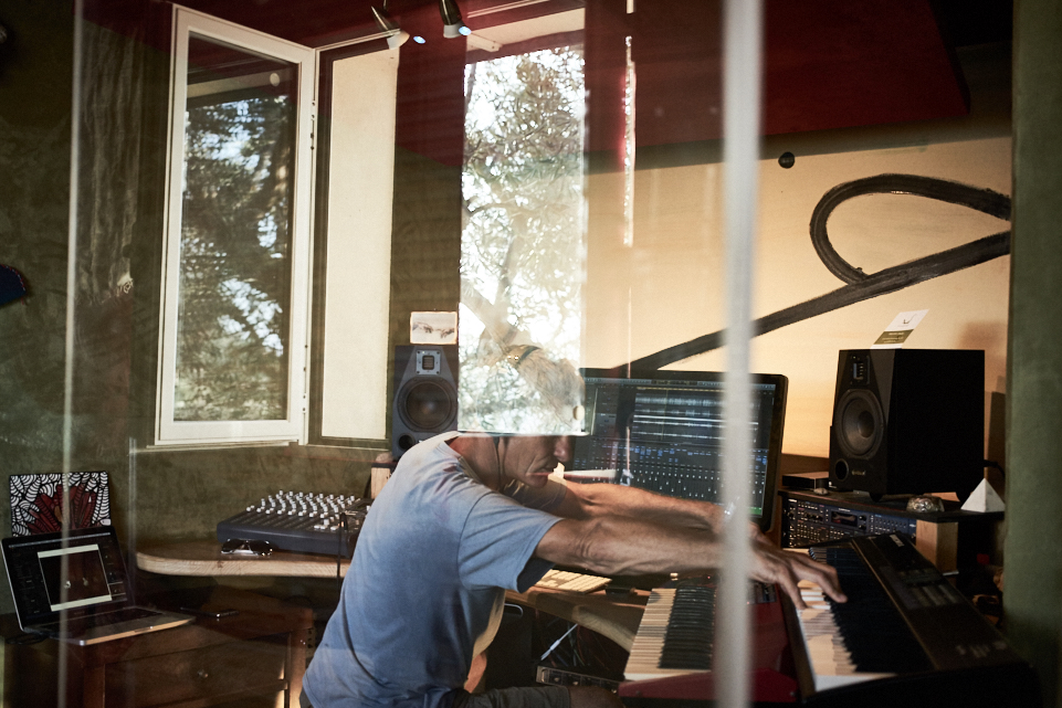 fine art photo of my friend Colin while at work in his recording studio in Tuscany near Pisa