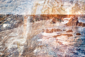a multiple exposure fine art photo of a seascape and a a beach in Portugal taken trough some pieces pf plastic