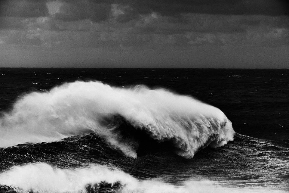 fine art black and white seascape taken in Nazarè Portugal