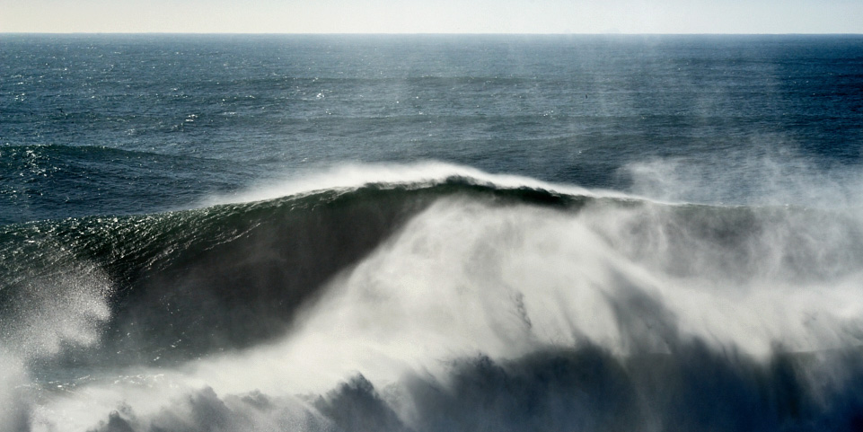 fine art seascape of the Atlantic ocean .image taken in Nazaré, Portugal during a big swell