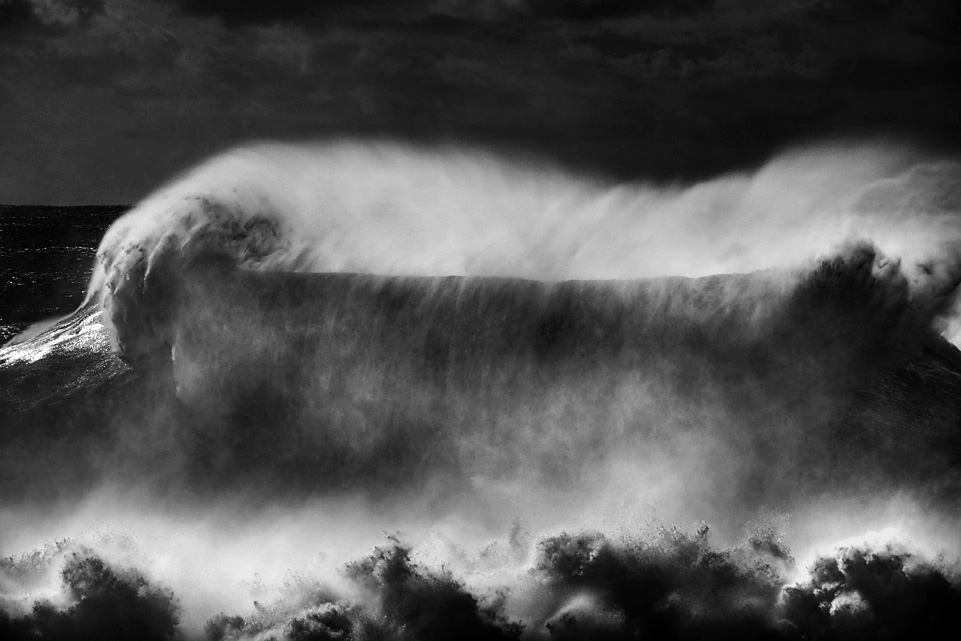 fine art black and white seascape of a big storm in Portugal