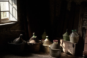 Fine art color photo of some bottle of wine found somewhere in Garfagnana, Tuscany, Italy