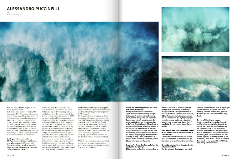 First two pages of an article on Zoom Magazine about my works